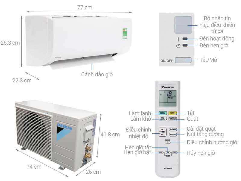 Thông số kỹ thuật Máy lạnh Daikin 1 HP FTC25NV1V