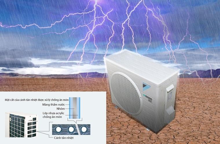 Dàn tản nhiệt của máy điều hòa Daikin được xử lý chống ăn mòn